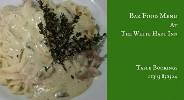 Bar food menu - White Hart Inn at Trudoxhill, Near Frome, Traditional 17th century pub famous for good food, good bear and good company
