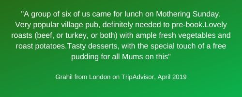 Review from Tripadvisor on Sunday Menu ~ White Hart Inn at Trudoxhill, Near Frome, Traditional 17th century pub famous for good food, good bear and good complany
